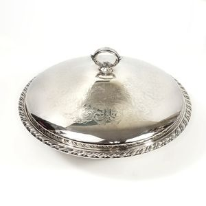 Oneida Silver Etched Dish with Glass Insert